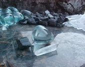 Andara Blue Glass Tumbled with Natural Quartz  and Black Tourmaline Crystal combination