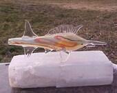 MARLIN Fish Animal TOTEM Spirit  Fumed Glass PiPE hand blown pattern glass FREE Us Shipping