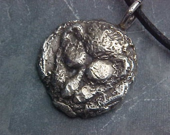 LION Head Vintage  GREEK Coin Pendant EXACT Reproduction in Sterling Silver