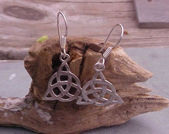 Celtic Knot TRIQUETRA  Earrings KAM Copyrighted Custom Design In Sterling Silver
