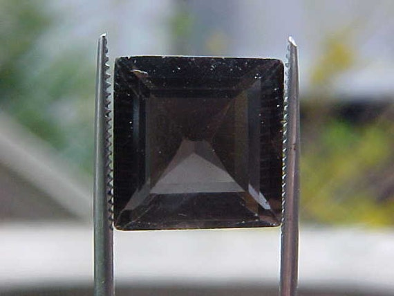 Obsidian APACHE TEAR  rare faceted 12mm square