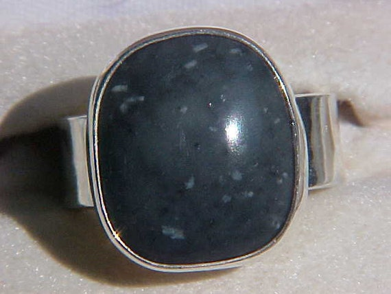SHIELDITE from Maine Unique Custom Sterling Silver ring from the BEACH PEBBLE line