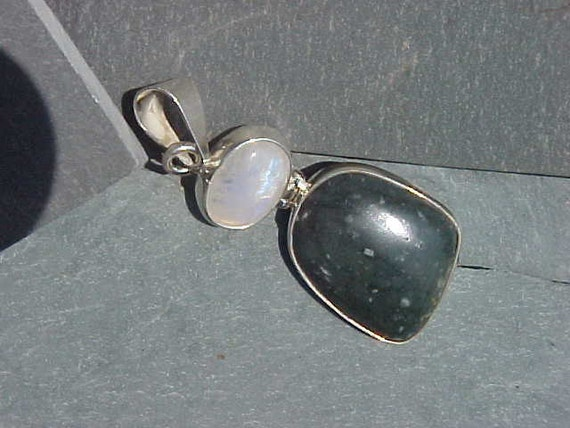 SHIELDITE from Maine and Rainbow Moonstone Unique Custom Sterling Silver PENDANT from the BEACH PEbbLE line