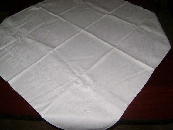 Vintage Tablecloth Irish Damask White on White Rose Deco Floral  34x37""