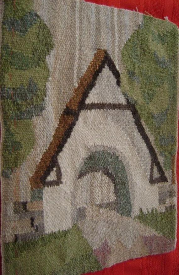 "Vintage Wall Hanging Wool Flemish Art Needle Work on woven wool Covered Bridge 9x11 1/2"""