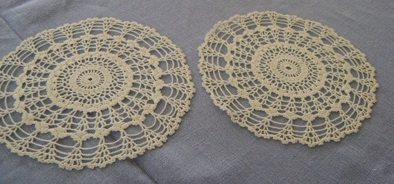 """Vintage Doilies pair  Hand crochet Lacy Knit  From Sweden Ivory   7 """" Perfect"""