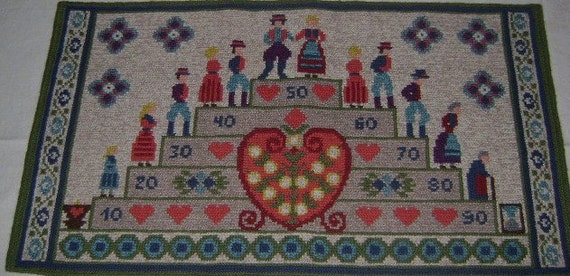 Vintage Wall Hanging Wool Twist Needlepoint ages of man  12 1/2 by 22""