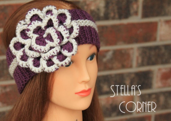 FREE SHIPPING NOW, Flower Knit Headband, Crochet Flower Headband, Purple Headband, Knitted Headband, Ear Warmer, Purple Flower Headband