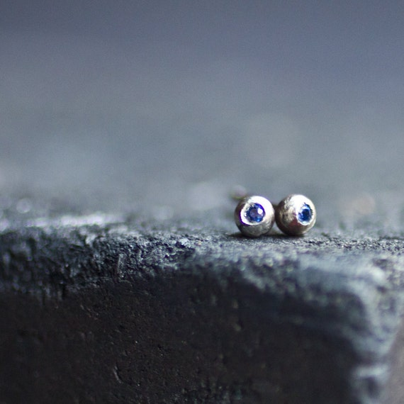Intense Blue Sapphires Earrings Studds In Silver
