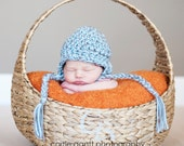 Chunky Ear Flap in Charcoal and Baby Blue / photo prop / you choose size