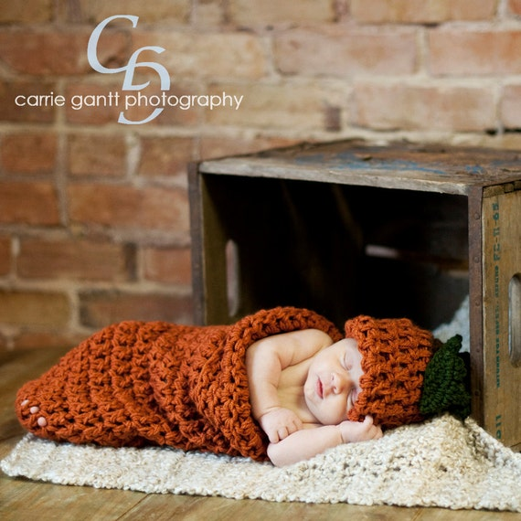 Harvest Pumpkin Beanie and Cocoon Pattern / PDF PATTERN /  newborn photography prop