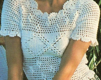 Vintage Crochet Dainty Shell Top Blouse Woman PDF Pattern ~~ Instant Digital Download