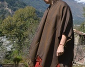 Merino Wool Poncho Navy Blue with Ocher and Bronzetone Accent Lines WP01