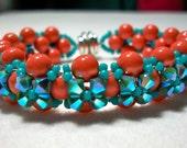Turquoise and Coral Swarovski Crystal Bead Bracelet