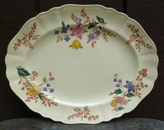 J&G Meakin Platter. Cotswold. Vintage Antique 1930s. Staffordshire, England. Transferware. Flowers, Wildflowers. Cottage, Farmhouse Decor.
