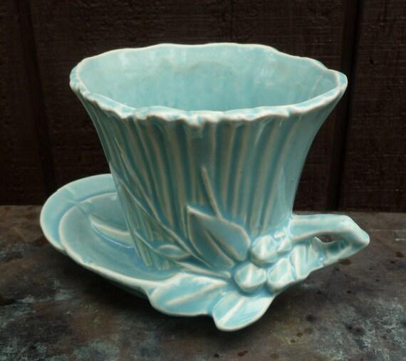 McCoy Flower Pot. Leaves & Berries. Aqua Blue.