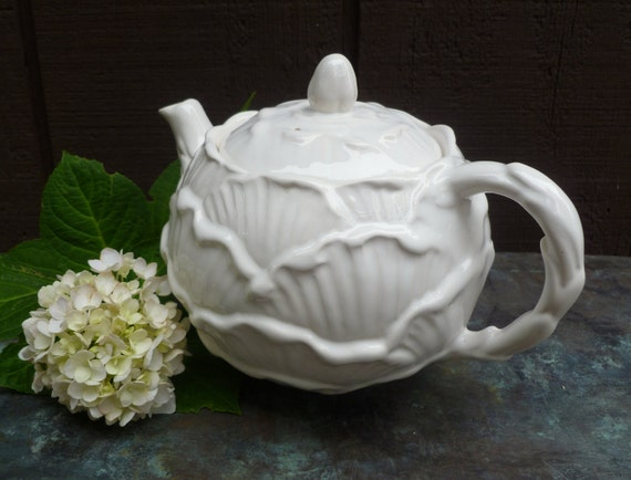 Vintage Sylvac Teapot. English Rose in White. Made in England. Cottage Decor.