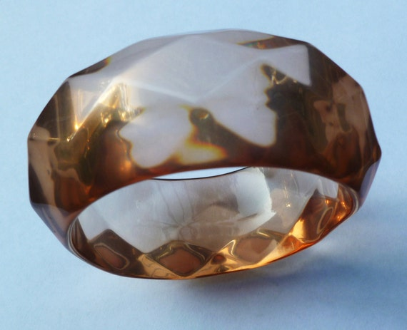 Lucite Bangle Bracelet. Faceted. Big & Chunky. Pink Amber Gray. Vintage 1960s.