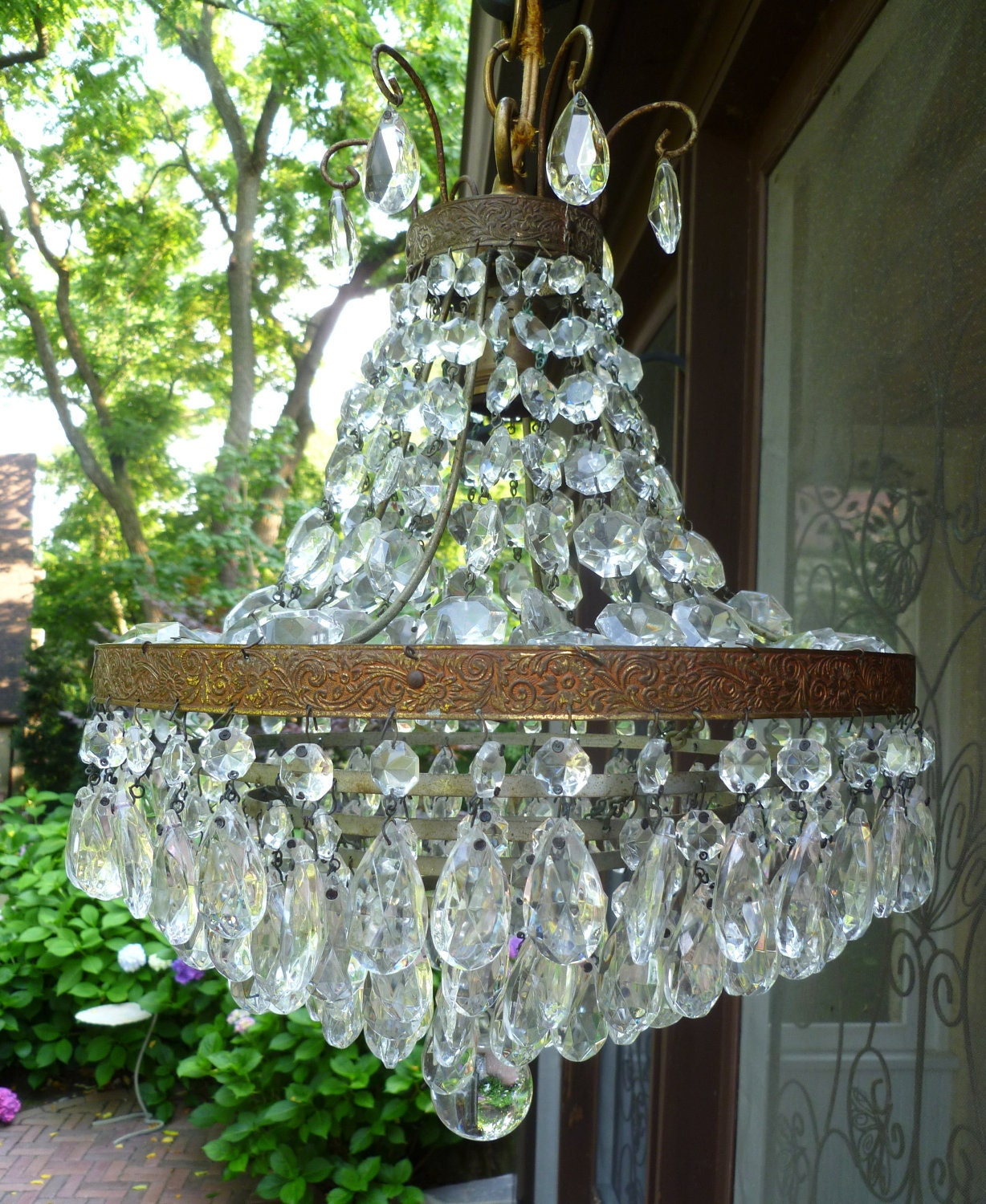 Draped Amp Tiered Crystal Prisms Chandelier Light Fixture