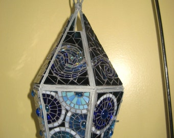 Hand Made Moonlight Mosaic Hanging Candle Holder