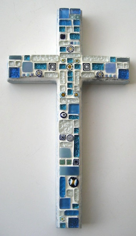 Baby Blue Mosaic Cross