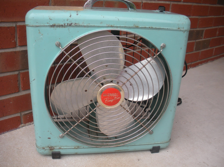 1960s Box Fan : Vintage box fan light blue wizard breeze