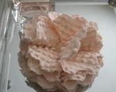 SALE Cream Chenille Fabric Flower Brooch 2 Matching