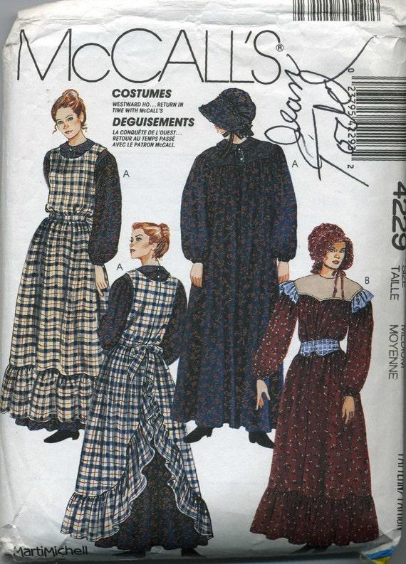 Mccalls Pioneer Woman Dress Bonnet Apron Belt Costume Pattern