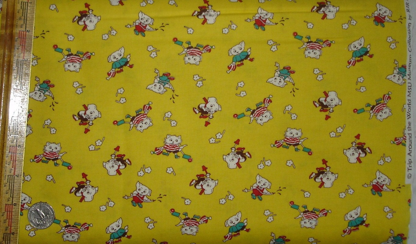 Cotton novelty childrens fabric rjr fabrics trip around the for Bright childrens fabric