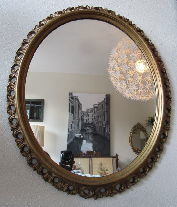 Vintage 1950s Turner Wall Accessory Gold Framed Mirror