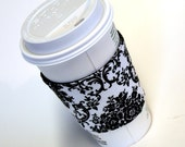 Cup Cozy Sleeve Black and White Damask Reversible / Reusable