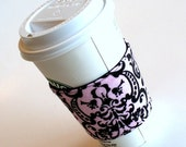 Cup Cozy Sleeve Pink and Black Damask Reversible / Reusable