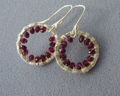 Silver Circle Earrings with Garnets