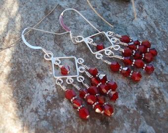 Red Diamond Chandelier Earrings