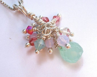 Cluster Charm Necklace with Aqua and Coral Pink