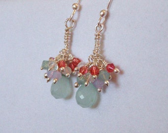 Cluster Charm Silver Earrings in Aqua and Coral Pink