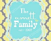 Personalized Family Name in yellow gray and blue with birds 8x10 digital art print