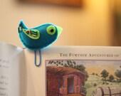 Bird Teal Blue Office Bookmark Felt Paperclip