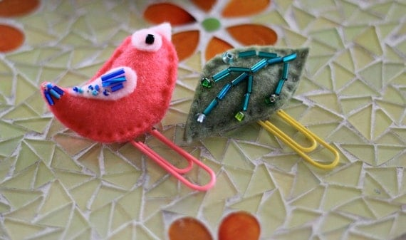 Bookmark Paperclip Felt Bird and Leaf Set