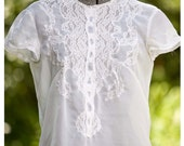 1950s Vintage Sheer Lace White Cropped Blouse M/L
