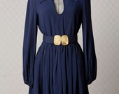 Womens 1960s Navy Blue Vintage Belted MOD Mini Dress // SMALL