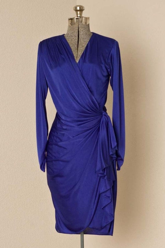 Womens Small 1980s Vintage Royal Blue Wrap Dress