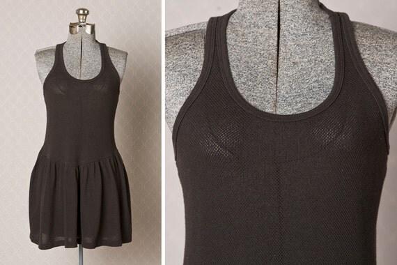 Vintage Raser Back Dress  //  Fish Net Dress // 80s Black Cover Up // Black Vintage Dress