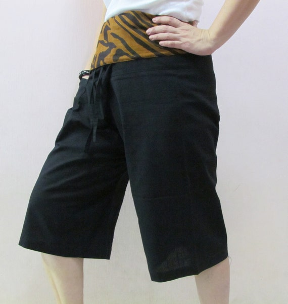 Black 3/4 Thai Fisherman Pants Patch Waist with Printed Cotton