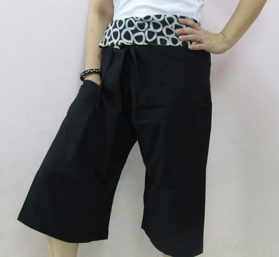 SALES ! Black 3/4 Thai Fisherman Pants Patch Waist with Printed Cotton