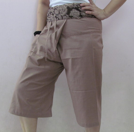 Sandy Brown 3/4 Thai Fisherman Pants Patch Waist with Printed Cotton