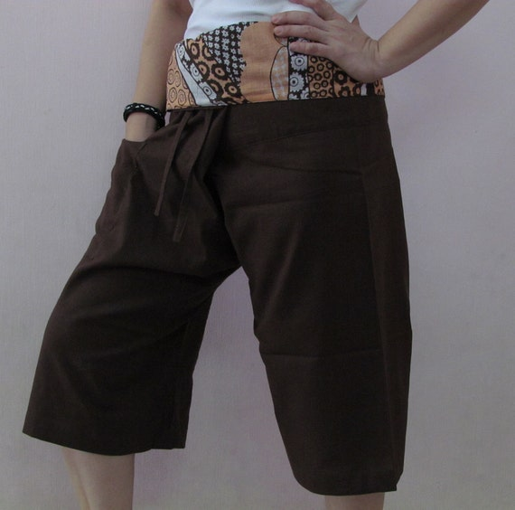 Brown 3/4 Thai Fisherman Pants Patch Waist with Printed Cotton