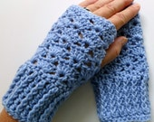 Baby Blue Wrist Warmers Baby Blue Fingerless Gloves Crocheted