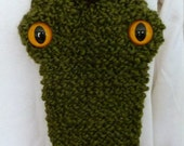 Knit Dragon Scarf - Olive Green with Brown Spikes