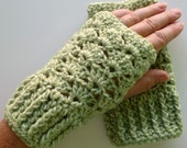 Wrist Warmers Fingerless Gloves Crocheted Lime Green Cream Variegated 4